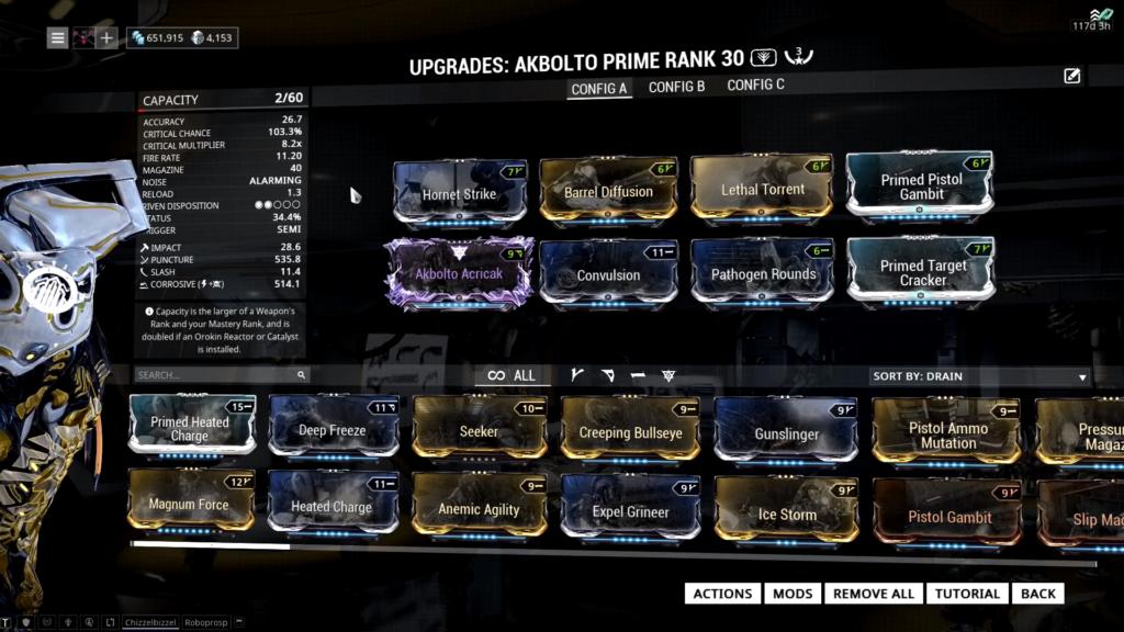 Akbolto Prime Build using a riven mod