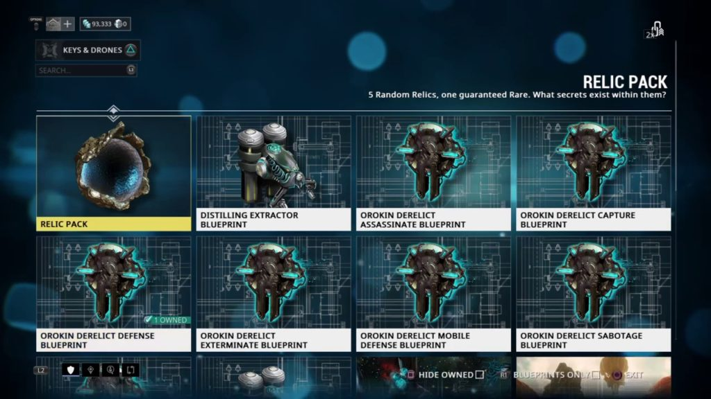 orokin derelict keys on market
