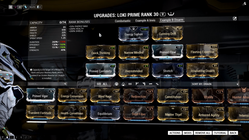 Loki Prime Build towards disarm ability