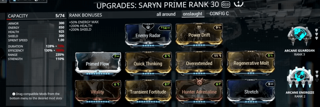 Saryn Spore Build that I used for Sanctuary Onslaught