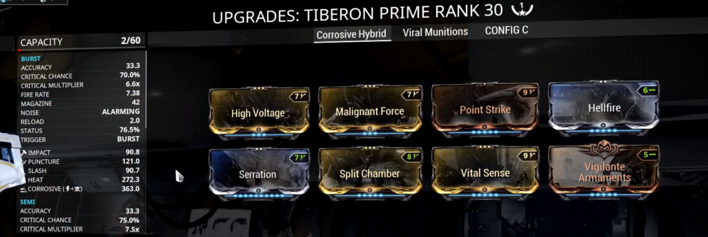Tiberon Prime Corrosive Hybrid Build that I use