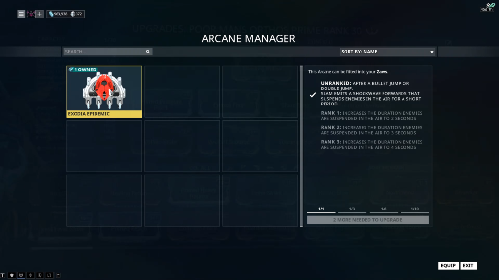 how to rank up arcanes warframe