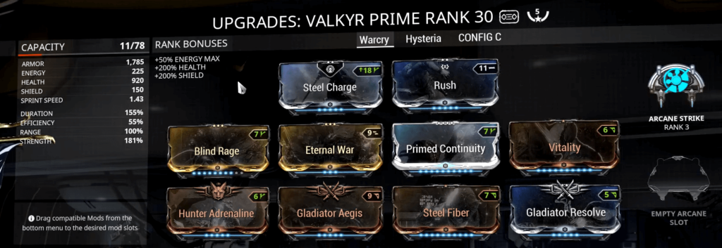 Warframe Valkyr Prime Warcry Build
