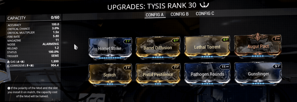 Warframe Tysis 3 Forma Build that I use
