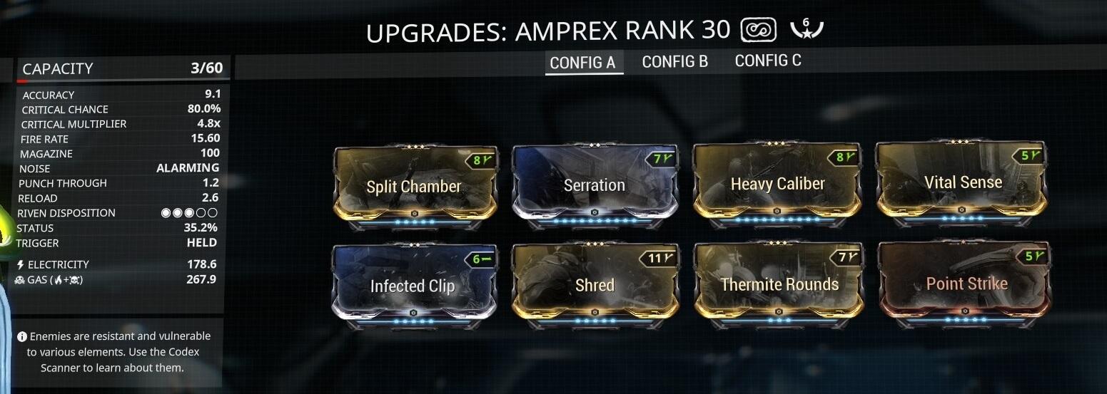 Warframe Amprex Anti-Corpus 6 Forma Build